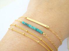 Dainty 14 k gold fill Turquoise  Bracelet Tiny by LAminiJewelry