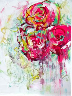 Abstract Floral Watercolor and Acrylic  Painting on watercolor paper by Lana.