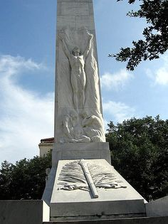 The Alamo Cenotaph, San Antonio, Texas. A beautiful memorial to the men who died defending the Alamo against the army of Santa Anna, the  Alamo Cenotaph stands in Alamo Plaza, adjacent to the old mission.