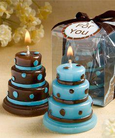 Chocolate and Blue Wedding Cake Favor Candles http://www.hotref.com