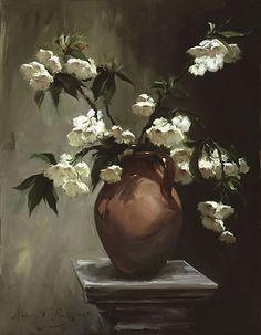 Painting, vase, flowers, art