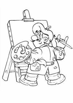 okul öncesi meslekler boyama sayfası ressam