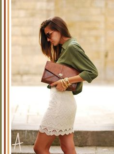 Olive button-up, Textured skirt, Oversized clutch
