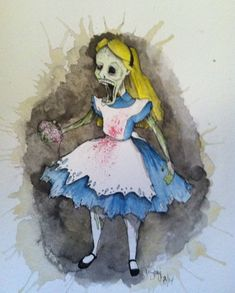 Alice in Wonderland Original Art, Zombie Art, Cartoon Art by Stagi Works on Etsy, $66.50