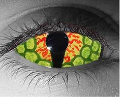 This Dragon Eye contact lens is a full sclera covering contact lens that has a neon green and dark green outside that looks like the scales of a dragon or a lizard. The inside has a black cat eye type pupil with orange and black speckles like a dragon egg.