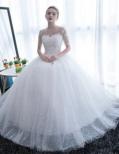 Ball Gown Scoop Neck Floor Length Satin / Lace Over Tulle Made-To-Measure Wedding Dresses with Lace by LAN TING Express / Illusion Sleeve / Sparkle & Shine