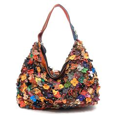 Geniune Leather Flower Studded Multicolor Handbag By Gildedice 63 50