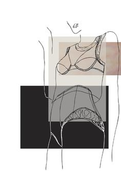 Fashion Sketchbook - lingerie illustration; contour fashion design portfolio // Marie Gallagher