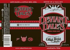 Cerveja Oskar Blues Deviant Dale's IPA, estilo India Pale Ale (IPA), produzida por Oskar Blues Brewing Company, Estados Unidos. 8% ABV de álcool.
