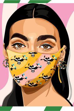 Dónde comprar cubrebocas o mascarillas de diseñadores | Vogue México y Latinoamérica Kunst Inspo, Art Inspo, Digital Portrait, Portrait Art, Graphisches Design, Portrait Illustration, Makeup Illustration, Grafik Design, Art Drawings Sketches