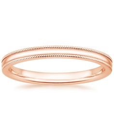 I like this one, with another band with diamonds and the engagement ring too ......14K Rose Gold 2mm Milgrain Wedding Ring from Brilliant Earth