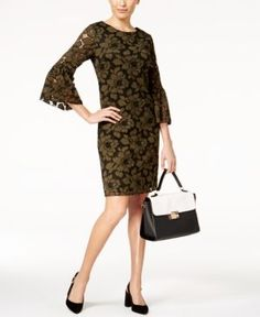 Alfani Petite Lace Bell-Sleeve Dress, Created for Macy's - Green 14P