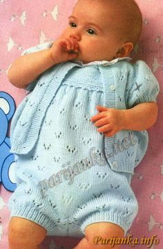 Baby onesie an short sleeve cardigan Baby Boy Knitting Patterns, Baby Patterns, Kids Dress Clothes, Romper Suit, Short Sleeve Cardigan, Leg Warmers, Knit Crochet, Baby Kids, Rompers