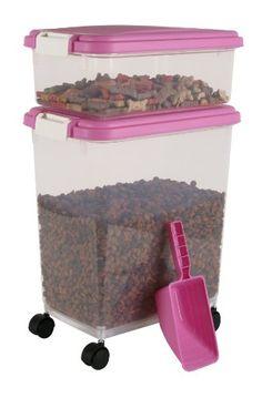 IRIS Airtight Pet Food Container Combo Kit, Pink/White - http://www.thepuppy.org/iris-airtight-pet-food-container-combo-kit-pinkwhite/