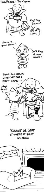 A little comic explaining why King Papyrus doesn't wear Asgore's crown!*cough* And it's not because I forgot to add it. *cough*Of course, Monster Kid couldn't just leave his favorite king crownless. :D