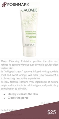Deep Cleansing Exfoliator + product info Unused, unopened full size bottle. Retails at $35.   photo credit | 1st and 2nd photo | caudalie.com Sephora Makeup