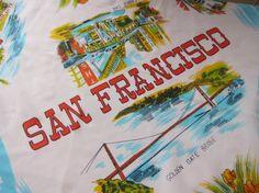 Vintage souvenir scarf San Francisco funky by fabriquefantastique, $16.00