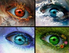 Element eyes, but Air would prefereable be silver/white/grey, idea for injection into characters blood to gain abilities.