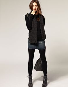 Jean skirt over tights with booties! Great idea for that too short jean skirt in my closet.