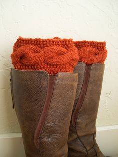 SALE - Paprika Boot cuffs -  Dark orange Leg Warmers - Cable knit boot toppers - Winter Fashion - Cozy legwarmers - Winter Acessory 2014