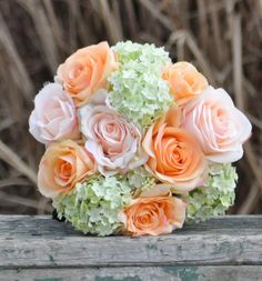 Coral and pink rose with green hydrangea wedding bouquet made of silk roses.. $55.00, via Etsy.