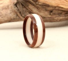 Royal Walnut and Tagua Nut Ring by WedgewoodRings on Etsy