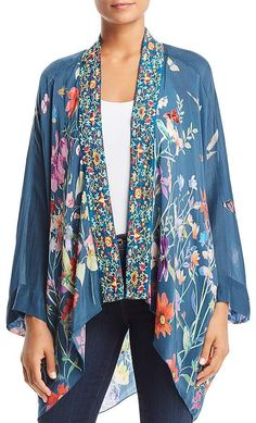 Johnny Was Collection Embroidered Floral-Print Kimono