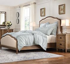 Restoration Hardware Replica Lorraine Style Upholstered Bed with Footboard New #purehome #TransitionalFrenchModern