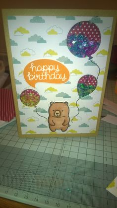 Happy Birthday Balloon Shaker Card. Lawn Fawn Stamp and die.