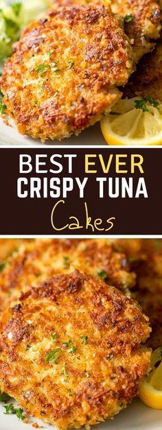 Tuna Fish Cakes, Tuna Fish Recipes, Sushi Recipes, Seafood Recipes, Appetizer Recipes, Dinner Recipes, Seafood Appetizers, Recipes With Canned Tuna, Tuna Cakes Easy
