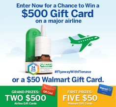 #Sweepstakes- Win a $500 gift card to a major airline with #FlyAwayWithFlonase. Enter here: https://gleam.io/0Q1qW-MAExrF