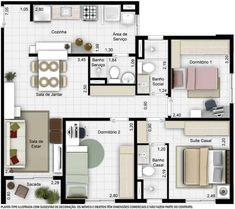 plantas de casas 60m2 com 2 quartos