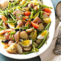 Sicilian Potato and Green Bean Salad recipe for beans, tomatoes, potatoes and basil fresh from the garden
