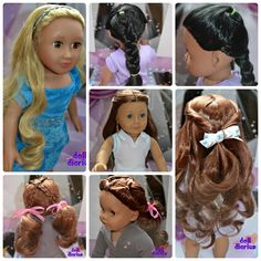 These are for dolls, but could easily be done on Kids too! American Girl Crafts, American Girl Clothes, American Dolls, Ag Doll Clothes, Doll Clothes Patterns, Doll Patterns, American Girl Hairstyles, Ag Hair Products, Girl Dolls