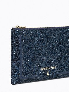 Patrizia Pepe Borsa pochette Glitter blu