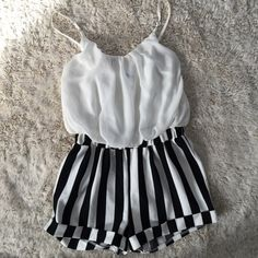 Romper high waisted size M FITS Black/cream high waisted romper. I am a size Fits great but to short for me. San Joy Other Little Girl Outfits, Cute Outfits, Cute Baby Girl, Cute Baby Clothes, Baby Wearing, Baby Dress, Girls Dresses, Rompers, Black Cream