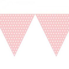 Polka Dot Bunting Flag Pale Pink (9ft Long)