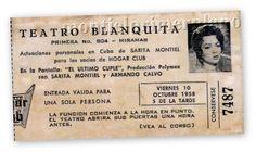 Papeleta del Teatro Blanquita.El Ultimo Cuple,con Sarita Montiel,año 1958