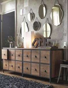 mirror wall and cabinet Sweet Home, Bedroom Dressers, Interior Decorating, Interior Design, Home And Deco, Home Living, My Dream Home, Interior Inspiration, Furniture Inspiration