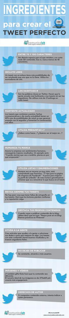 13 ingredientes para escribir el tweet perfecto. #Infografia #twitter #RRSS