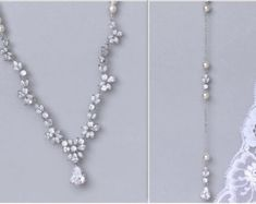 Backdrop Bridal Necklace Wedding Jewelry Pearl by poetryjewelry