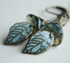 Flower leaf earrings  Czech glass flower leaf aqua by AmberSky, $29.50
