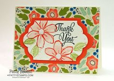 Stampin UP handstamped Thank You card featuring the Garden in Bloom stamp set, Pretty Petals floral paper and Lots of Labels framelits Big Shot dies.