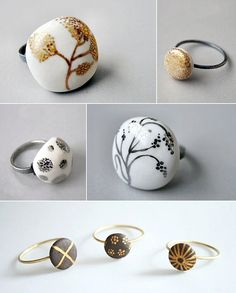 White and chocolate porcelain with silver and gold. Rings by Spain's Pilar Cotter.