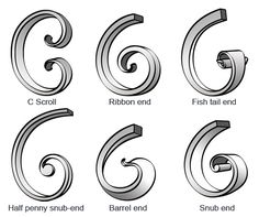 Scrolls, barrel end = bevel. Photos http://www.iforgeiron.com/topic/33383-scroll-ends-and-where-to-use-them/
