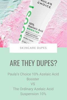 Spoiler: I wouldn't call The Ordinary Azelaic Acid Suspension 10% a dupe of Paula's Choice 10% Azelaic Acid Booster. If you know The Ordinary, you know they're one tricky ponies. They give you one active per product – that's how they keep the prices low. Paula's Choice take the opposite approach. So why this 'dupe' article? Because they're the top 2 brands for azelaic acid so chances are you'll choose one. Which one? #skincaredupes Acne Prone Skin, Oily Skin, The Ordinary Azelaic Acid, Paula's Choice, Skincare Dupes, How To Get Rid Of Acne, Prevent Wrinkles, How To Treat Acne, Clear Skin