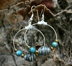 paper bead earrings with turquoise accents