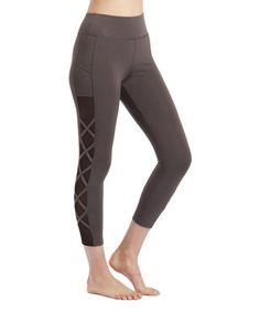 Loving this Charcoal Lattice & Mesh Atom Capri Leggings - Plus on #zulily! #zulilyfinds