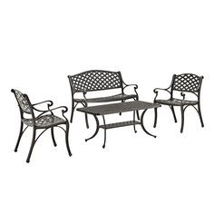 4-Piece Cast Aluminum Conversation Set, Black, Patio Furniture