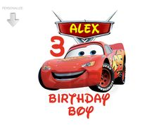 Cars Clipart, Personalize Birthday Clipart, Bday Boy, Cars Iron On Transfer or Use as Clip Art, Cars